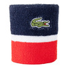 LACOSTE Men`s Colorblocked Tennis Wristband Navy Blue and Corrida