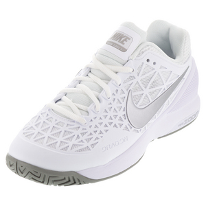 Women`s Zoom Cage 2 Tennis Shoes White and Medium Gray