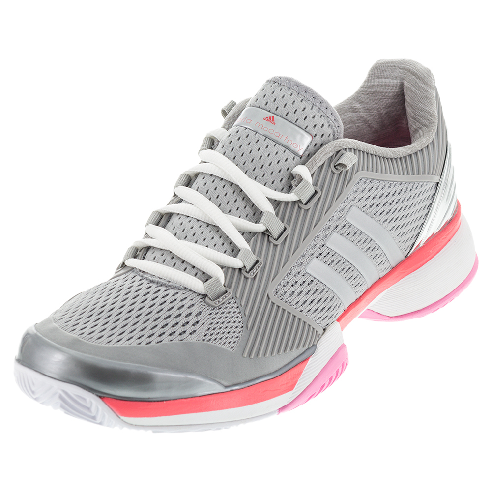 Women's Asmc Barricade 2016 Tennis Shoes Silver Metallic And Flash Red