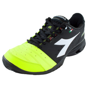 Men`s S Star K VI AG Tennis Shoes Black and Fluo Yellow