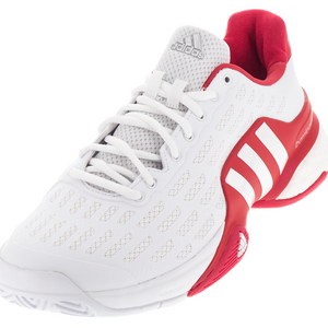 Men`s Barricade 2016 Boost Tennis Shoes White and Ray Red