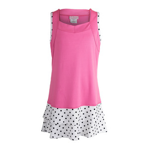 Girls` Tennis Dress Pink and Polka Dot