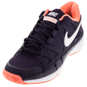 Women`s Air Vapor Advantage Tennis Shoes Purple Dynasty and Bright Mango