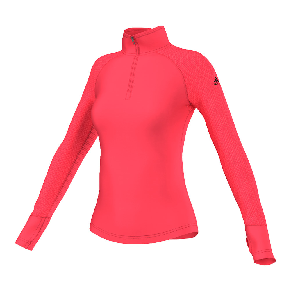 Women's Techfit Cold Weather Half Zip Top Shock Red
