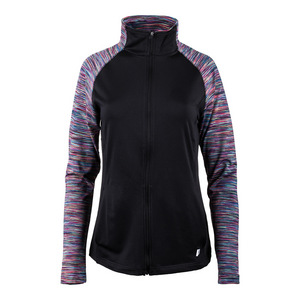 Women`s Long Sleeve Full Zip Tennis Jacket Black