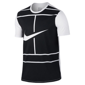 Men`s Court Tennis Tee White and Black