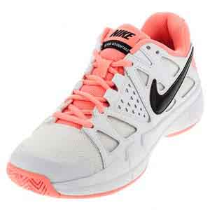 Women`s Air Vapor Advantage Tennis Shoes White and Lava Glow