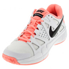 NIKE Women`s Air Vapor Advantage Tennis Shoes White and Lava Glow