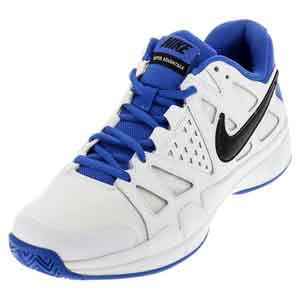 Men`s Air Vapor Advantage Tennis Shoes White and Medium Blue