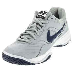 Men`s Court Lite Tennis Shoes Wolf Gray and Midnight Navy