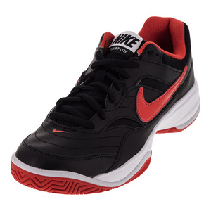 Men`s Court Lite Tennis Shoes Black and Max Orange