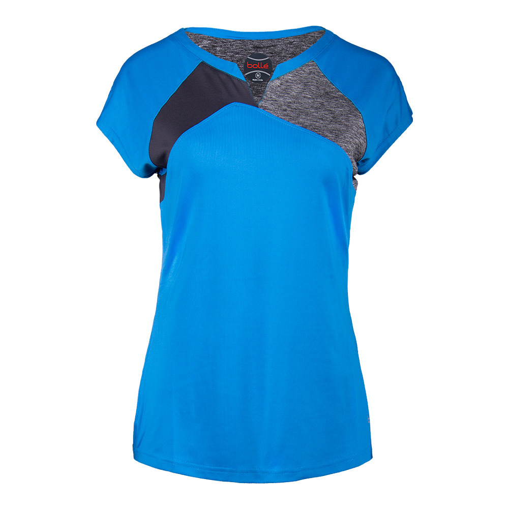 Women's Angelina Cap Sleeve Tennis Top Blue And Dark Heather