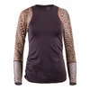 LUCKY IN LOVE Women`s Long Sleeve Athletic Tennis Crew Shale and Print