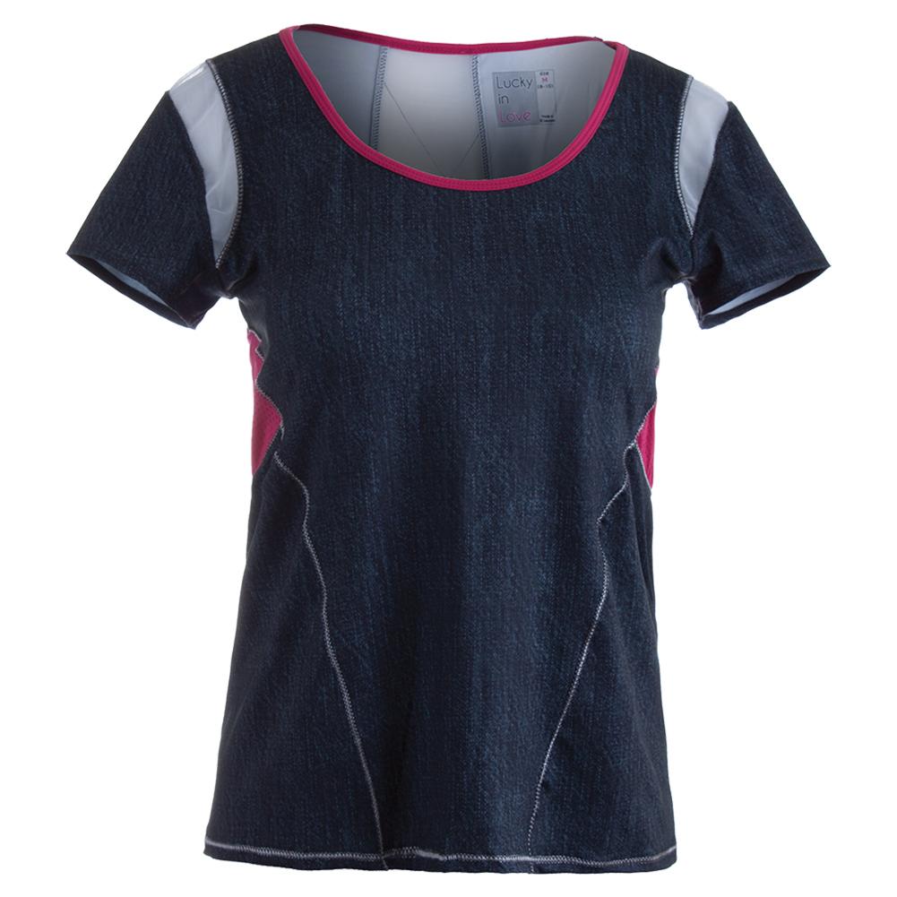 Women's Scoop Neck Tennis Cap Sleeve Black Denim