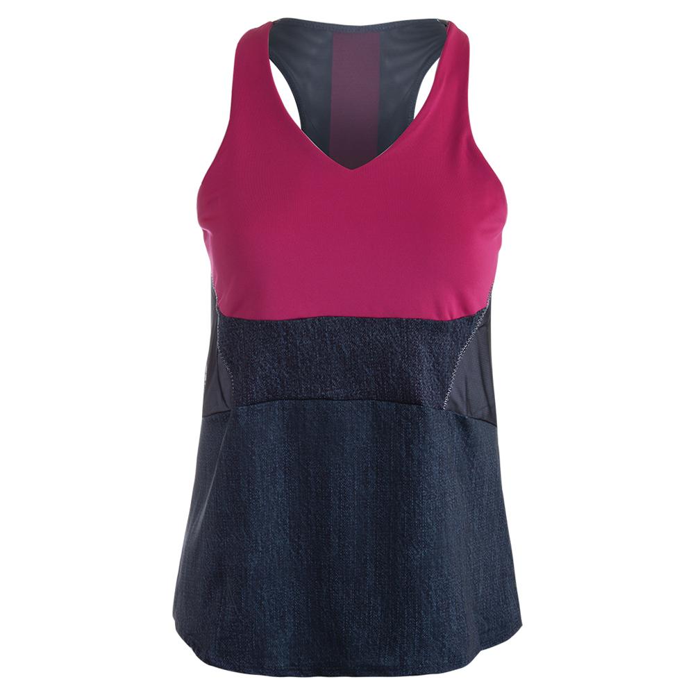 Women's Colorblock Tunic Tennis Tank Black Denim And Raspberry
