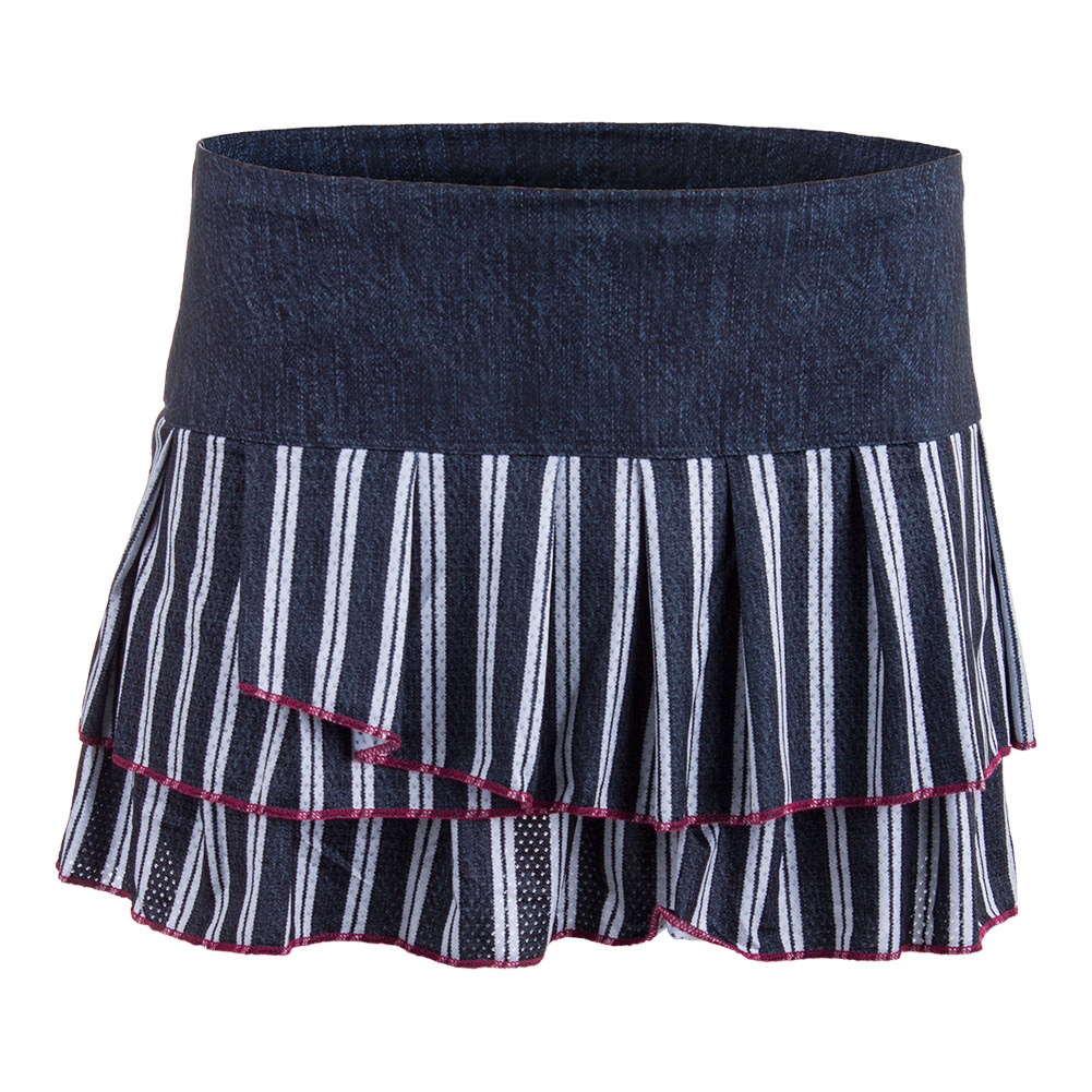 Women's Bottom Line Pleated Tier Tennis Skort Black Denim