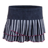 LUCKY IN LOVE Women`s Bottom Line Pleated Tier Tennis Skort Black Denim