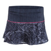 LUCKY IN LOVE Women`s Stone Wash Lace Tennis Skort Black Denim