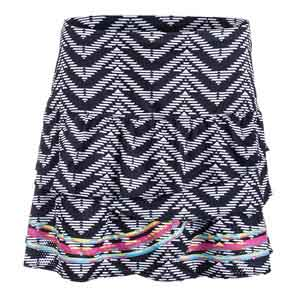 Women`s Long Night Life Rouched Scallop Tennis Skort Print
