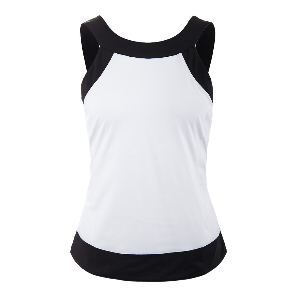 Women's Court Couture Halter Tennis Tank White And Black