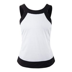 Women`s Court Couture Halter Tennis Tank White and Black