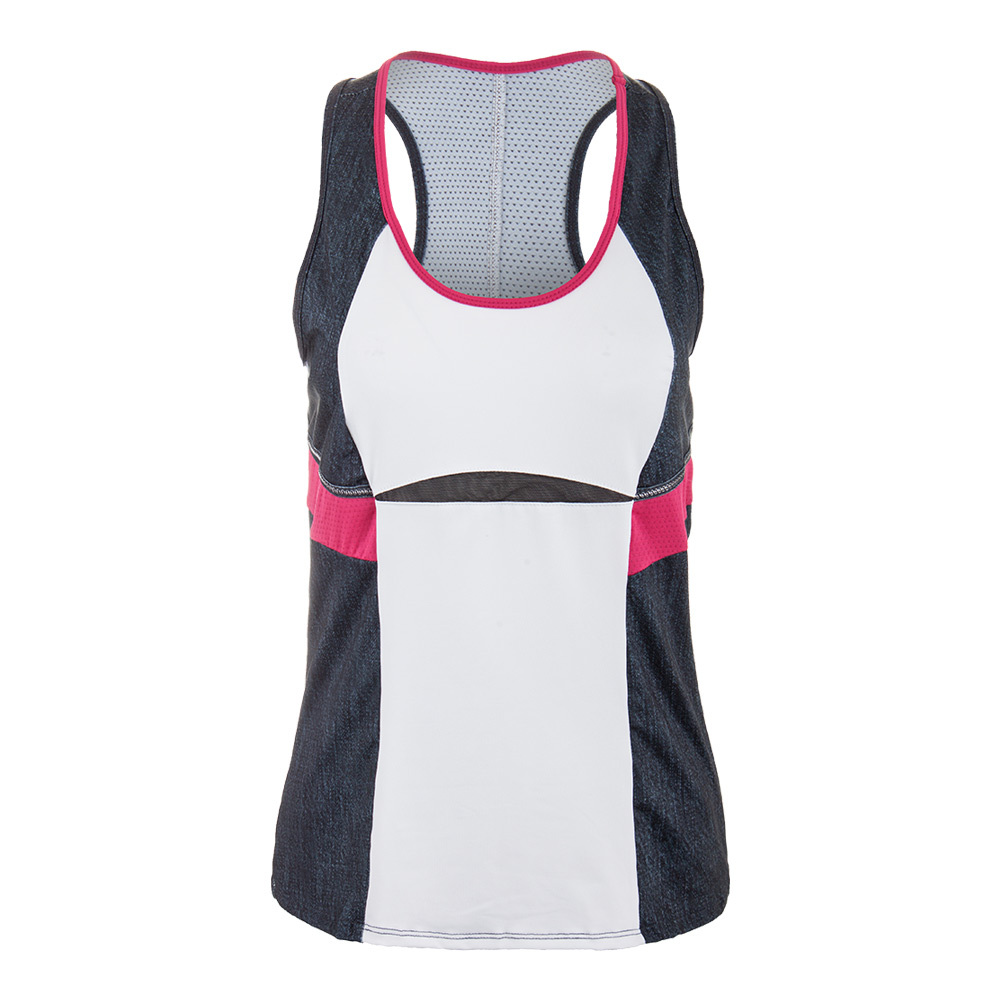 Women's Colorblock Racerback Tennis Tank Black Denim And White