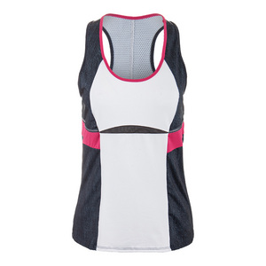 Women`s Colorblock Racerback Tennis Tank Black Denim and White