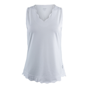 Women`s Scallop Tennis Tank White