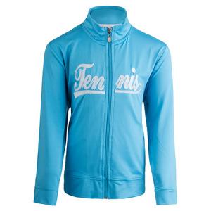 Girls` Zip Front Tennis Jacket Blue