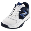 Men`s 696v2 D Width Tennis Shoes White and Navy by NEW BALANCE