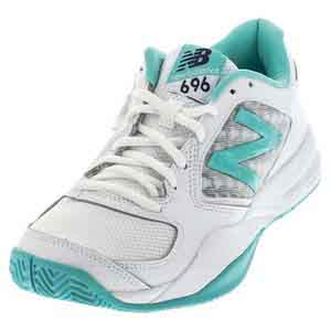 Women`s 696v2 B Width Tennis Shoes Teal and White