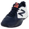 Men`s 996v2 D Width Tennis Shoes White and Blue by NEW BALANCE