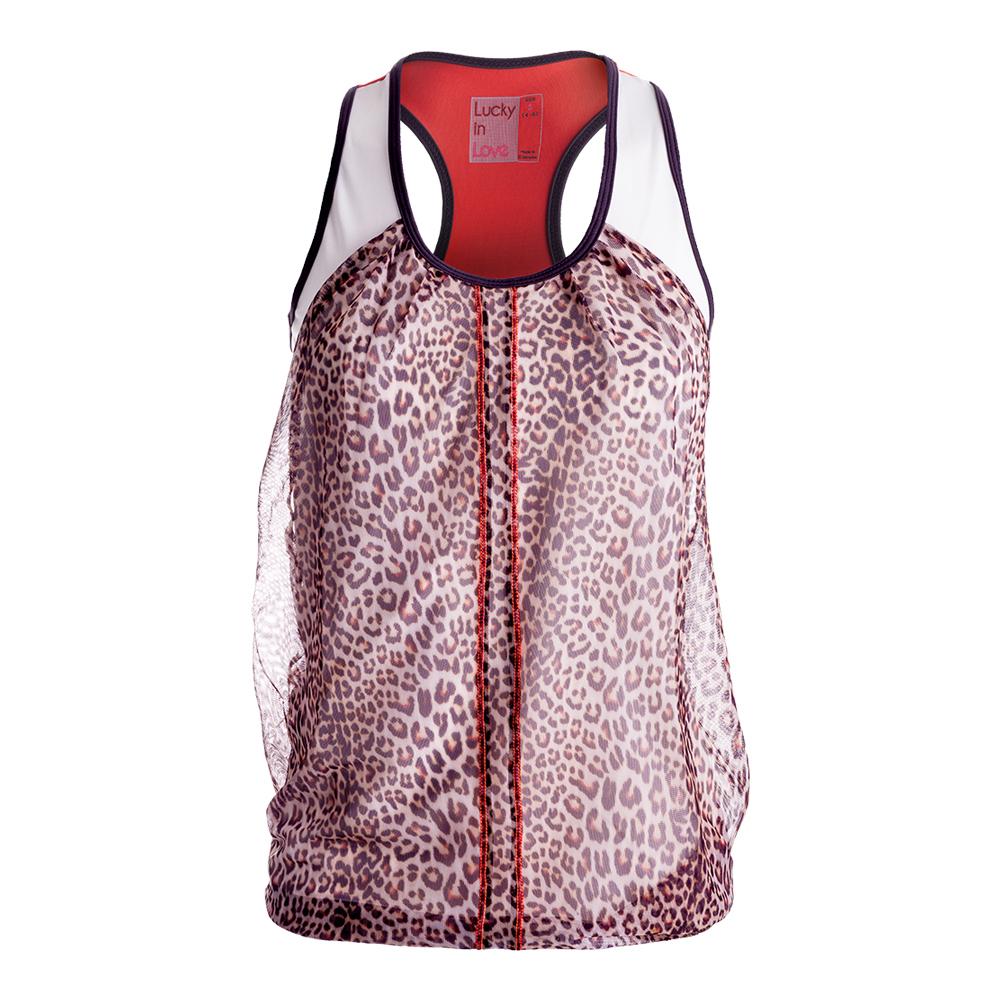 Women's Spot On Mesh Drape Tennis Tank Print