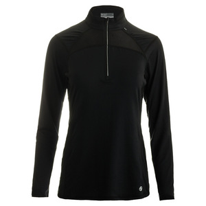 Women`s Stride 1/4 Zip Tennis Pullover Black