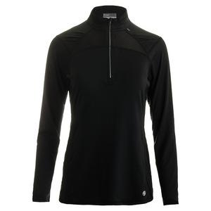Women`s Stride 1/4 Zip Tennis Pullover Black