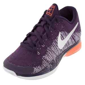 Men`s Zoom Vapor Flyknit Tennis Shoes Grand Purple and Metallic Silver