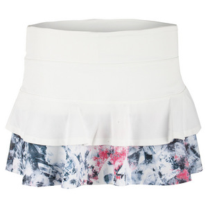 Women`s Match Tennis Skort White and Print