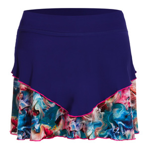 Women`s 14 Inch Tennis Skort Indigo and Carnaval Print