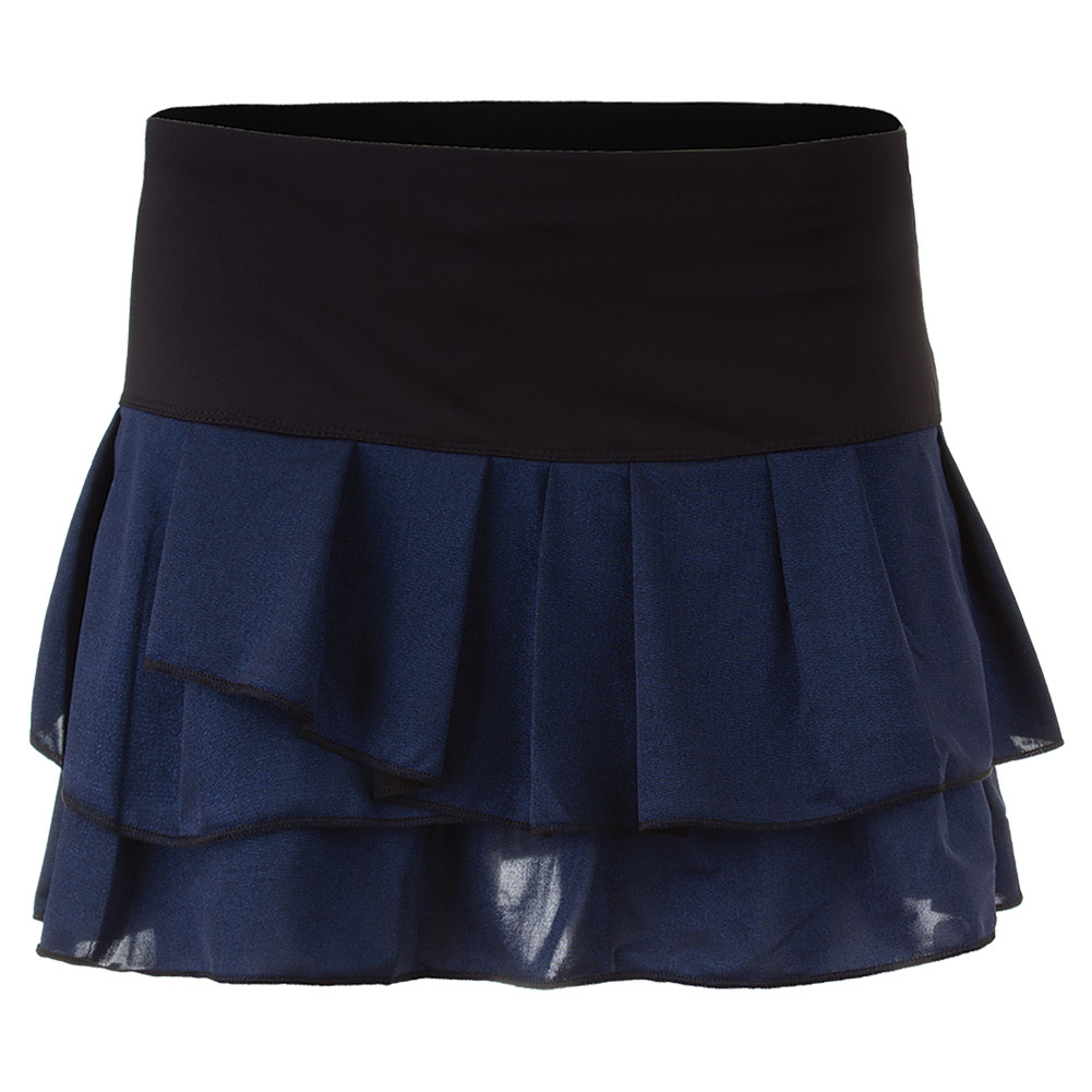 Women's Metallic Spray Pleat Tier Tennis Skort Slate