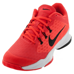 Men`s Air Zoom Ultra Tennis Shoes Bright Crimson and White