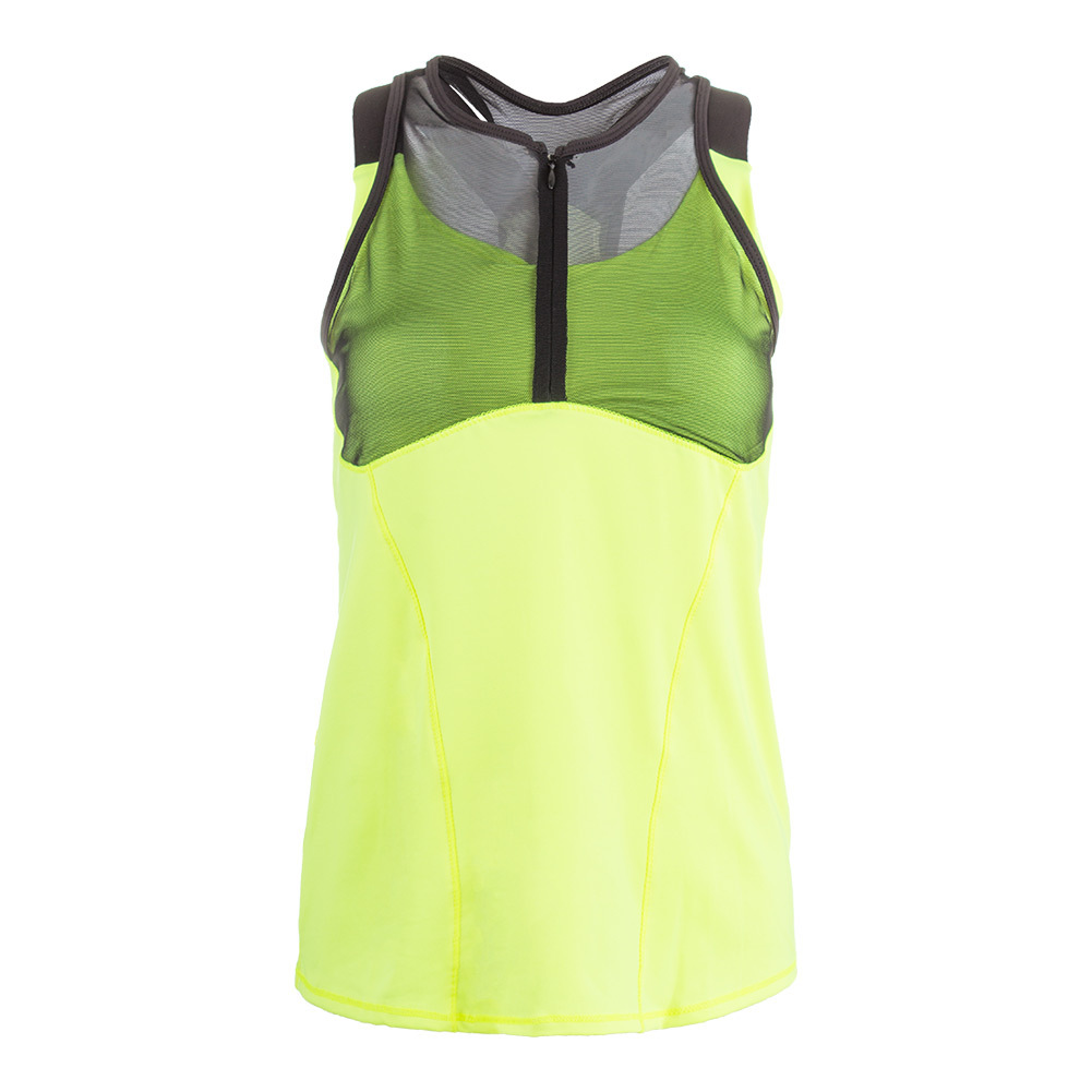 Women's Zip Mesh Cami Tennis Top Neon Yellow