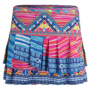 Women`s Boho Chic Pleat Tier Tennis Skort Print