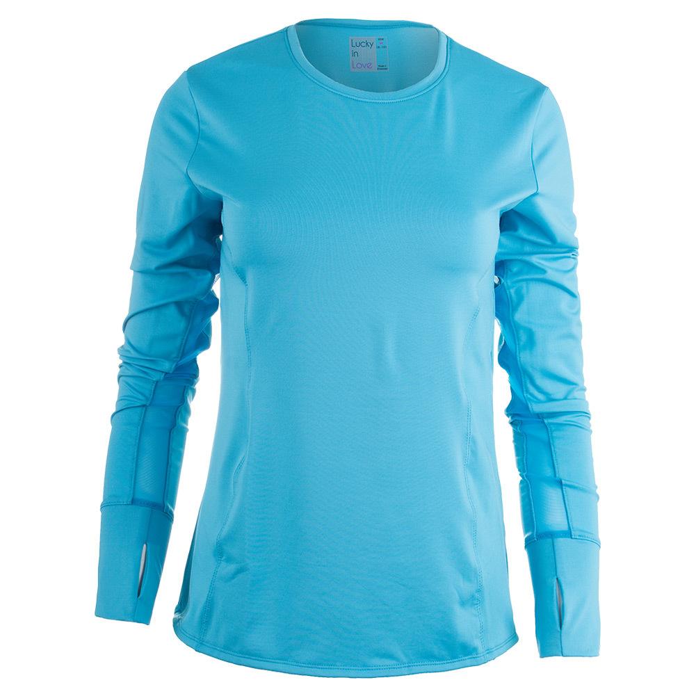 Women's Long Sleeve Spf Tennis Crew Ocean
