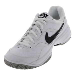 Men`s Court Lite Tennis Shoes White and Medium Gray