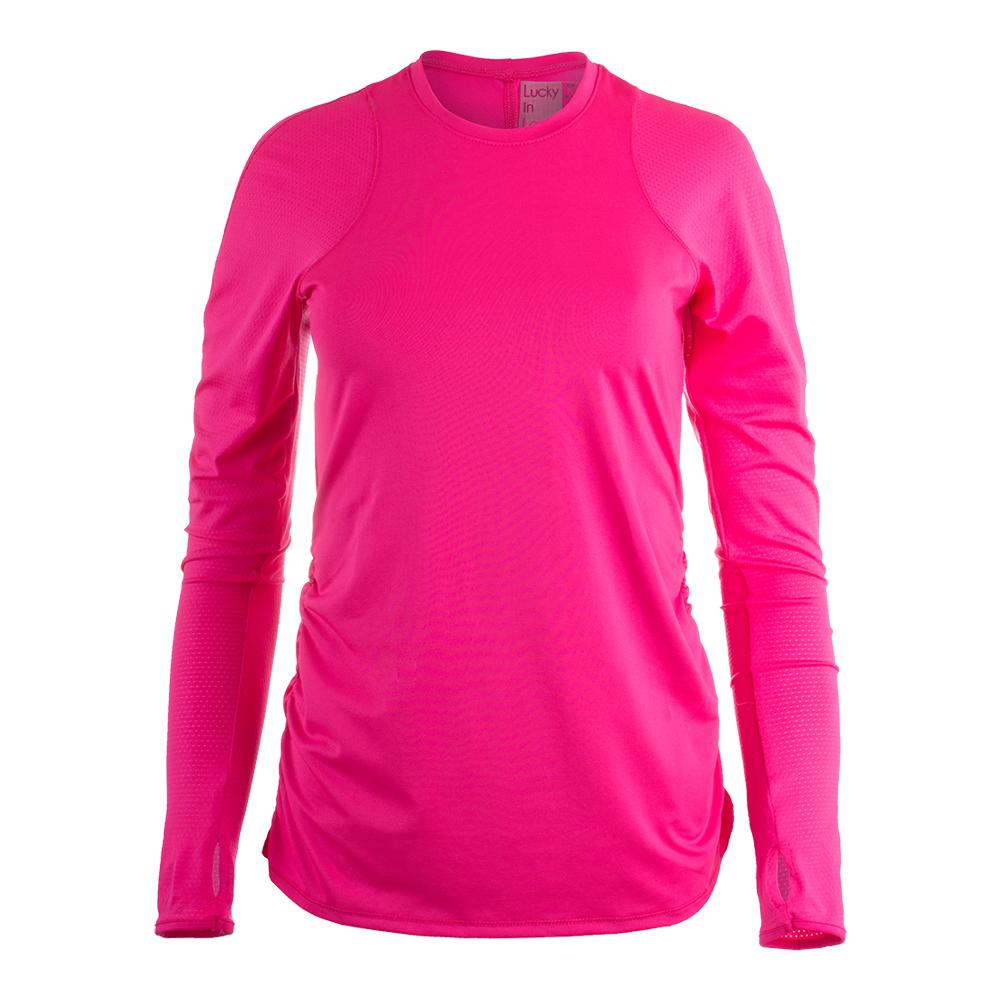 Women's Long Sleeve Tennis Crew Shocking Pink