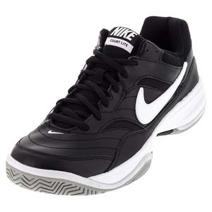 Men`s Court Lite Tennis Shoes Black and Medium Gray