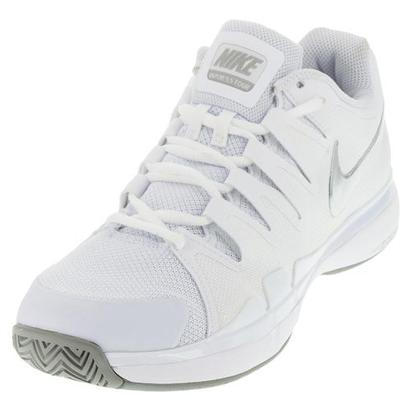 Women`s Zoom Vapor 9.5 Tour Tennis Shoes White and Metallic Silver