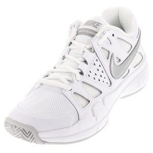 Women`s Air Vapor Advantage Tennis Shoes White and Medium Gray