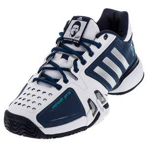 Men`s Novak Pro Tennis Shoes White and Metallic Silver
