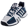 ADIDAS Men`s Novak Pro Tennis Shoes White and Metallic Silver